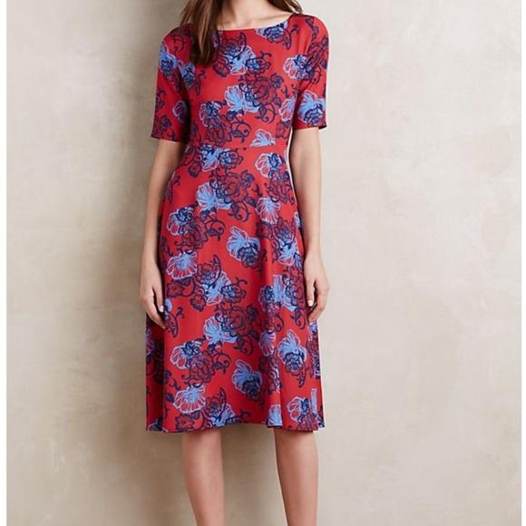 909c0883b61b Anthropologie Dresses & Skirts - Anthropologie Red Blue Theodora Midi dress